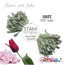 Stami per fiori 3m - Light Green 100pz (200 teste)