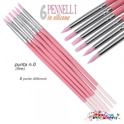 Set 6 pennelli in silicone, #000 punta rosa