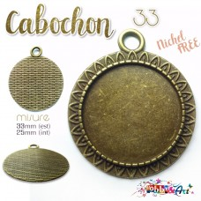 Cabochon - Base per Cammeo 33mm color Bronzo. Nichel Free