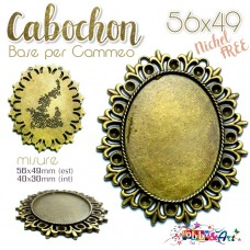 Cabochon - Base per Cammeo 56x49mm color Bronzo. Nichel Free