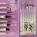 set 7 pennelli + 1 Stylus ball per sfumature, micro pittura, nail art, etc