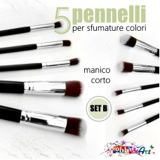 Set 5 pennelli assortiti, setola morbida, manico corto - Set B