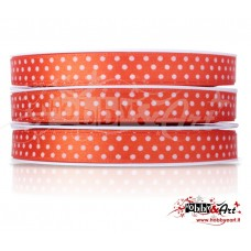 Nastro in raso a pois ARANCIO 10 mm x 5mt