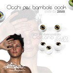 Occhi Bicolore screziati, Castano Scuro - 2mm