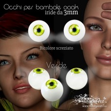 Occhi Bicolore screziati, Verde Dorato - 3mm