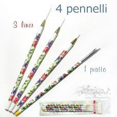 Set 4 pennelli, 3 liner + Piatto, decorati