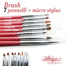 Set 7 Pennelli + micro stylus- Rosa