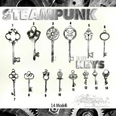 Steampunk Keys in metallo - 14pz Vintage
