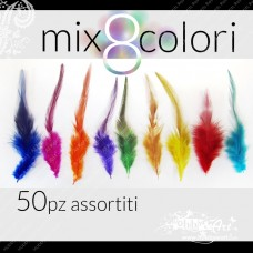 set Piume Mix 8 colori - 50pz