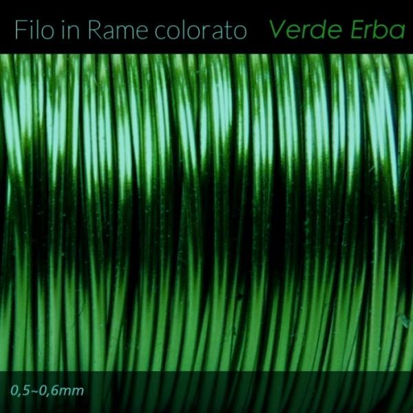 Filo di rame colorato - Verde Erba