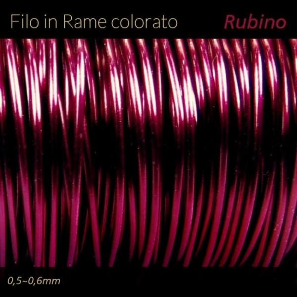 Filo di rame colorato - Rosso Rubino