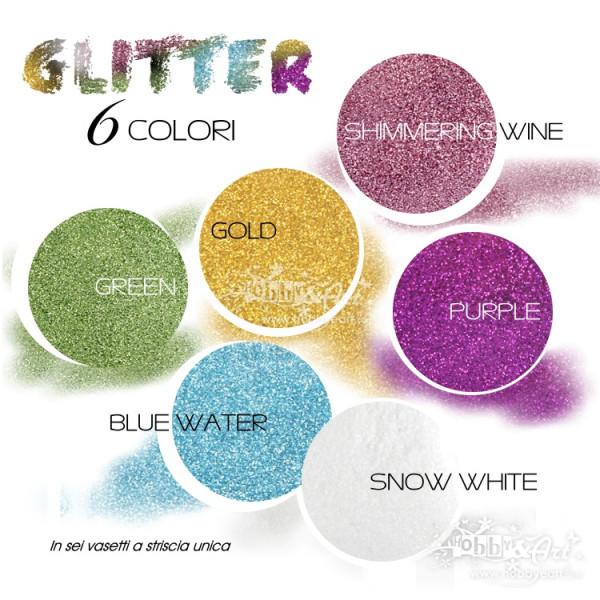 Set 6 vasetti Glitter in 6 colori