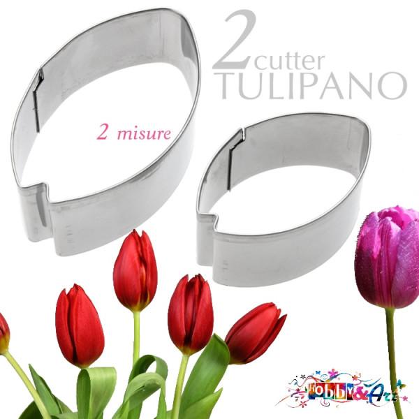 Cutter in metallo Petalo Tulipano - 2pz