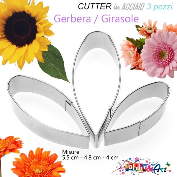 Cutter in metallo petalo gerbera e girasole - 3 pezzi