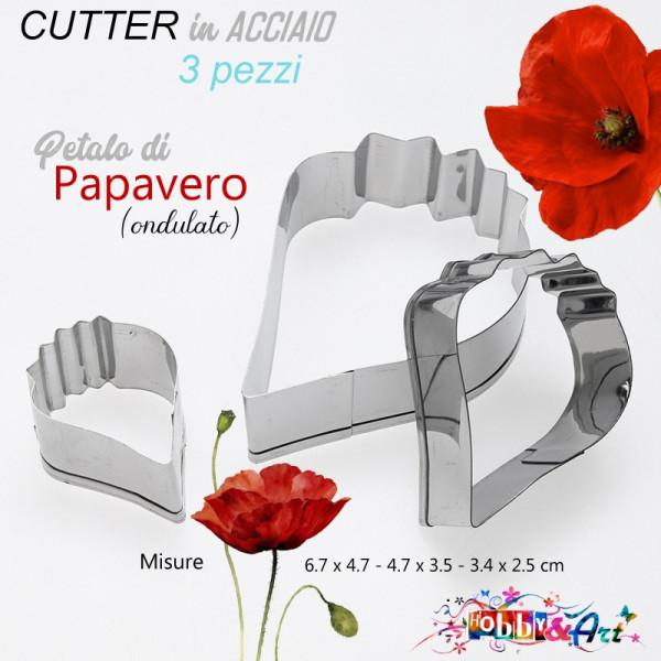 Cutter in metallo petalo ondulato papavero - 3 pezzi