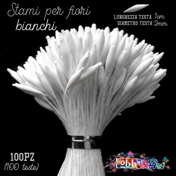 Stami per fiori colore Bianco 2 x 4mm - 100pz