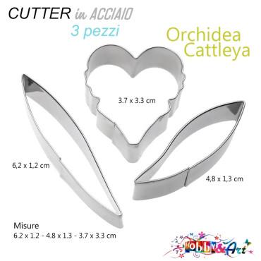 Cutter in metallo Orchidea Cattleya - 3 pezzi