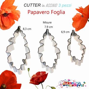 Cutter in metallo Papavero foglia - 3 pezzi