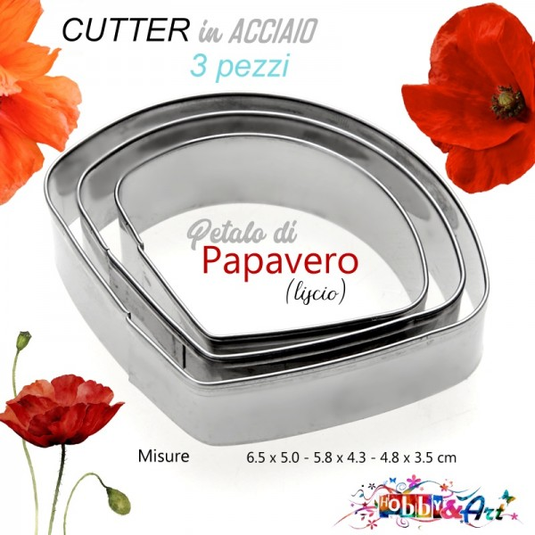 Cutter in metallo Papavero (petalo liscio) - 3 pezzi