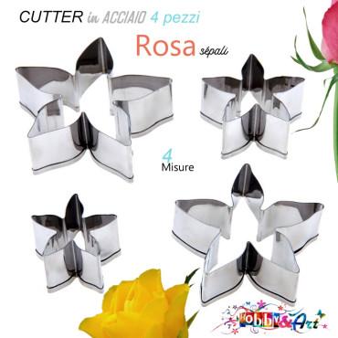 Cutter in metallo Rosa, stella sepali - 4 pezzi