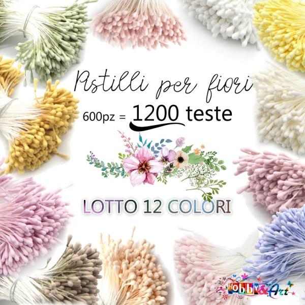 Stami per fiori, 12 colori assortiti, 600 pezzi = 1200 teste