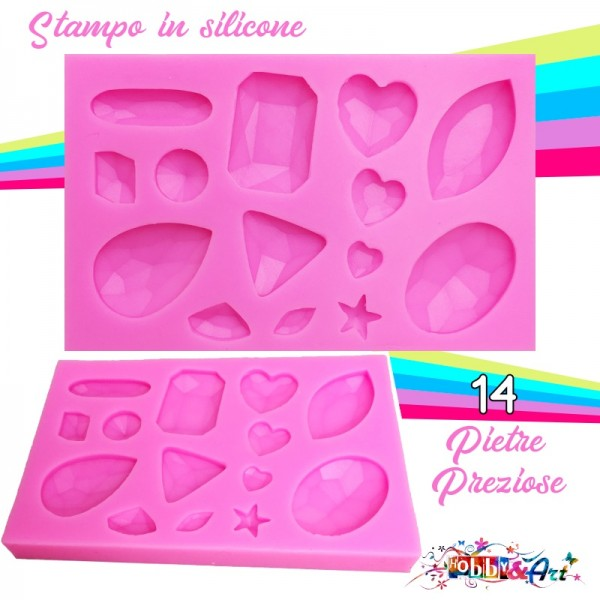 Stampo in silicone morbido 14 Pietre Preziose