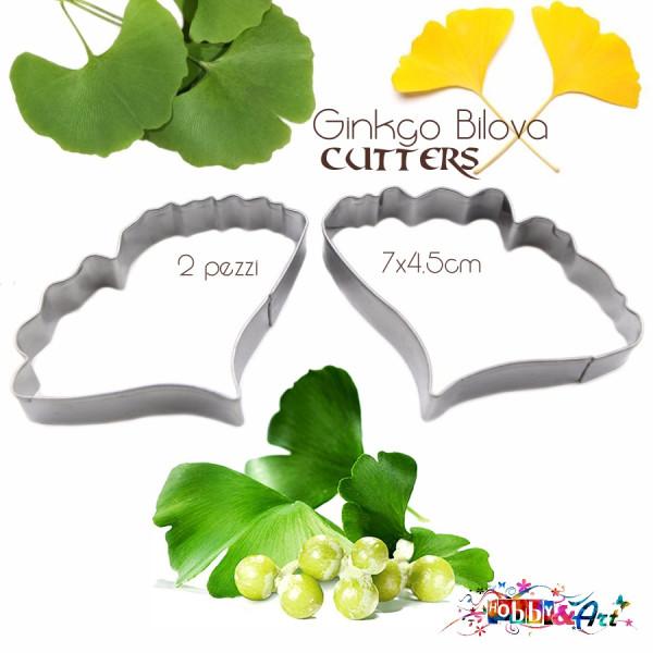 Cutter in metallo Ginkgo Biloba (e ali di farfalla) - 2 pezzi