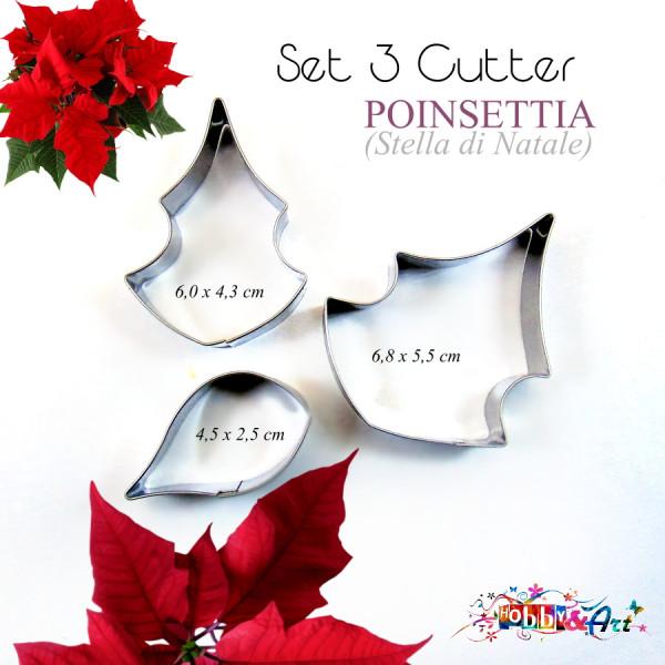Cutter in metallo poinsetia (stella di Natale) - 3 pezzi