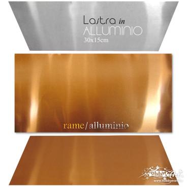 Lastra in alluminio anodizzato rame, 30 x 15 cm