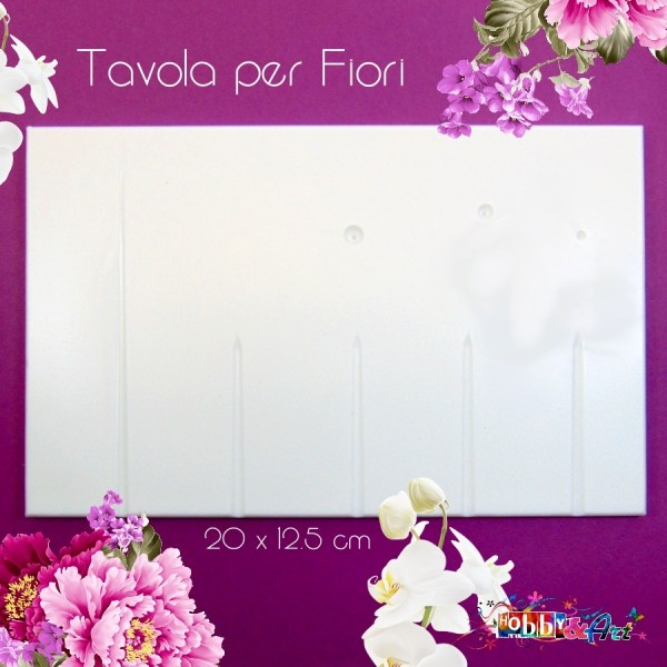 Tavola per fiori, bianca, 20x12,5 cm