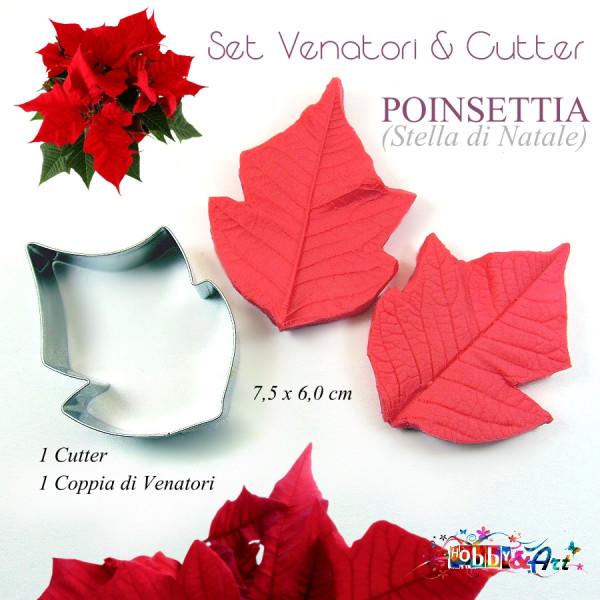Cutter e venatore poinsetia (stella di Natale) - 7,5 x 6,0 cm