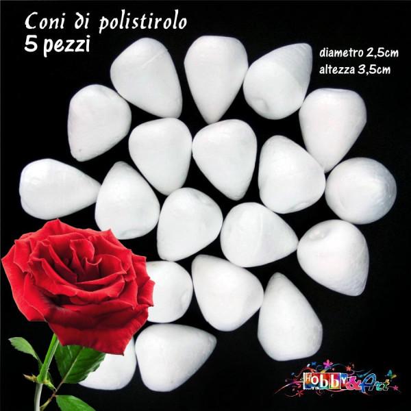 Coni di polistirolo bianco 3,5 x 2,5 cm - 5pz