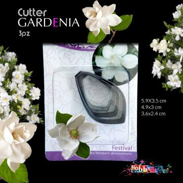 Cutter in metallo petali di Gardenia - 3 pezzi