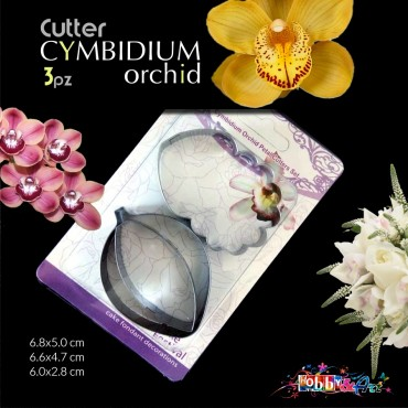 Cutter in metallo petali di Orchidea Cymbidium - 3 pezzi