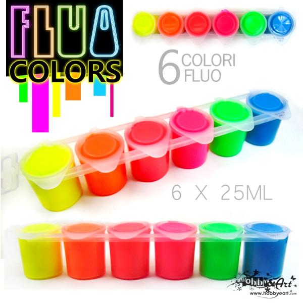 Colori FLUO - Acrilici, 6 colori da 25ml