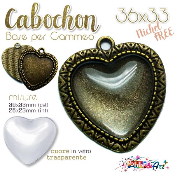 Cabochon Cuore con vetro - Base per Cammeo 36x33 mm