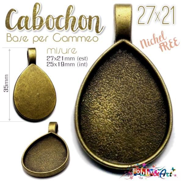 Cabochon - Base per Cammeo 27x21mm color Bronzo. Nichel Free