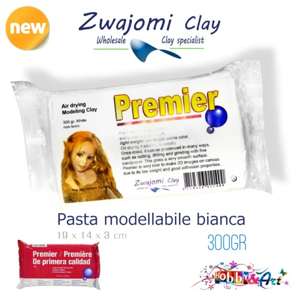 Pasta modellabile autoindurente PADICO PREMIER - Bianca 300gr