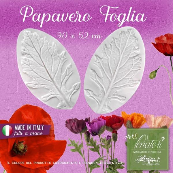 Venatore in silicone Papavero - Foglia 9,0 x 5,2 cm ITA