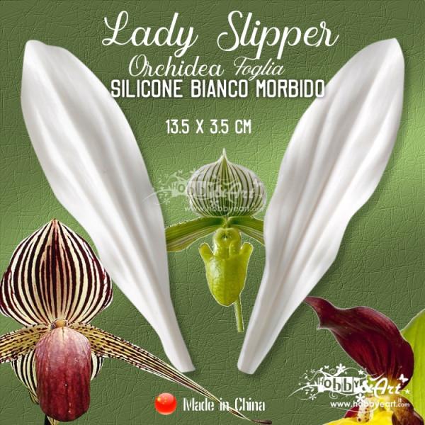 Venatore in silicone bianco - Orchidea Lady Slipper, foglia