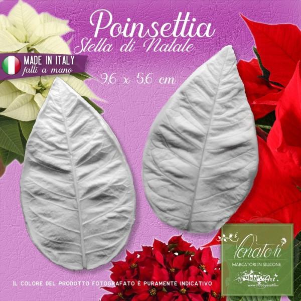 Venatore in silicone Poinsetia, Stella di Natale - Foglia media 9,6 x 5,6 cm ITA