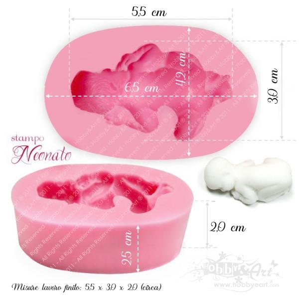 Stampo in silicone - Neonato misure effettive 5.5x3.0x1.8