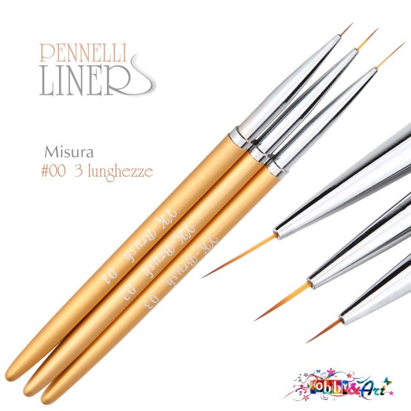 Set 3 pennelli tondi liner 00 3 lunghezze