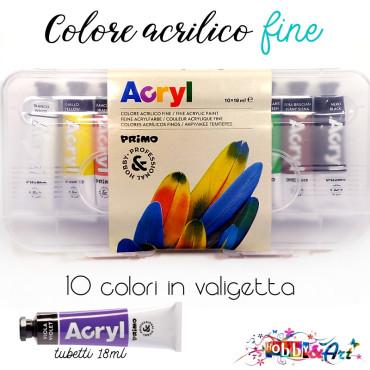 10 Colori Acrilici fini - tubetti da 18ml in valigetta