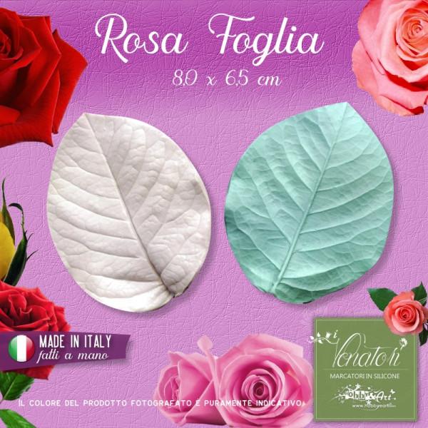 Venatore in silicone Foglia di Rosa ITA 8,0x6,5cm