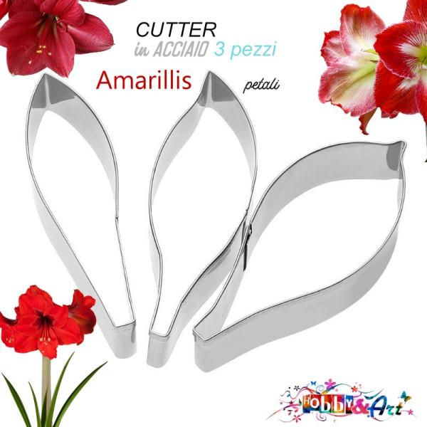 Cutter Amaryllis petalo, in acciaio - Set 3 pezzi