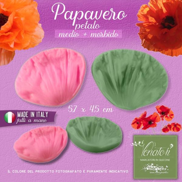 Venatore in silicone Papavero Petalo - medio+morbido 5,7 x 4,5 cm ITA