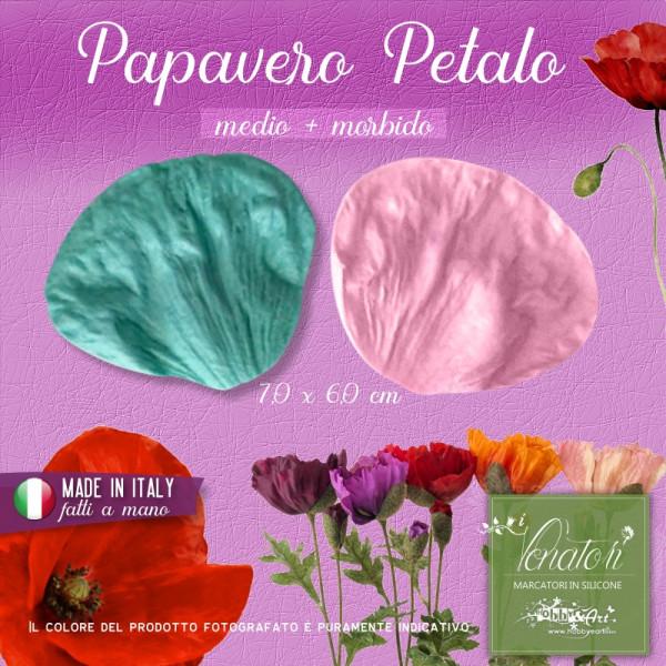 Venatore in silicone Papavero Petalo - medio+morbido 7,0 x 6,0 cm ITA