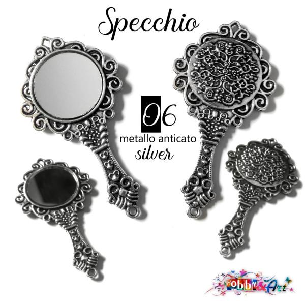 Specchio 6 in metallo colore Argento anticato