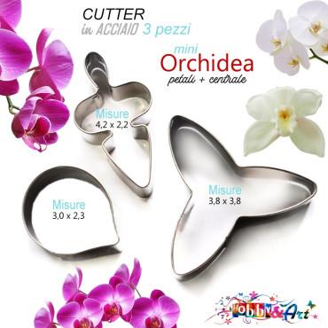 Cutter Orchidea Phalaenopsis in acciaio MINI - Set 3 pezzi